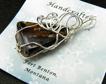 Wire Wrapped Stone Pendant -Wire Wrapped Natural Stone Jewelry - Costume Jewelry - Handmade In Montana - Free Shipping - Made in USA