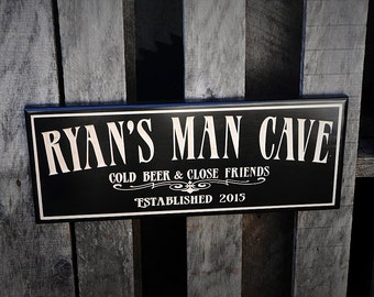 Man cave bar sign - Personalized - Pub sign - Business signage - Valentine Gift for him, Groomsman gift