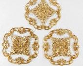 Brass Filigree, X Shape Filigree, Jewelry Parts, Jewelry Making, Raw Brass, Antique Brass, US Made, 47mm, B'sue Boutiques, Item06092