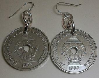 Laos Vintage Coin Earrings 1952