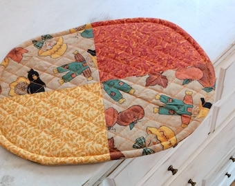 Trivet Oval Quilted Fall Motif Scarecrow Sunflowers Orange Pumpkins Black Crows Teacher Gift Holiday Decor Thanksgiving Hostess Gift Hot Pad