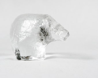 Swedish Art Glass, Pukeberg, Polar Bear Paper Weight
