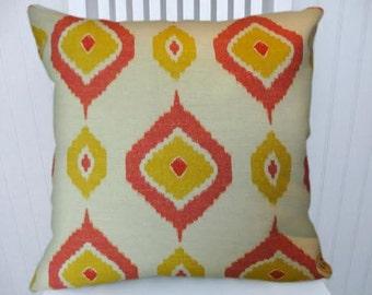 Yellow Orange Cotton Ikat Pillow Cover-Decorative Throw Pillow Cover- Accent Pillow Cover
