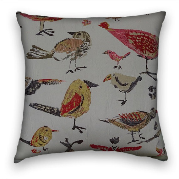 red orange grey fun birds decorative throw pillows 18x18 or. Black Bedroom Furniture Sets. Home Design Ideas