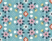 Birch Fabrics Organic  Wildland Poplins -  Flowerbed Blue
