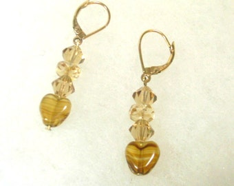 Vintage  Golden Topaz Glass and Crystal Earrings - No. 1657