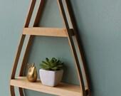 Teardrop Bentwood Shelf, Vintage Inspired, Pine, Mid-Century Shelf, Hanging Plant Stand