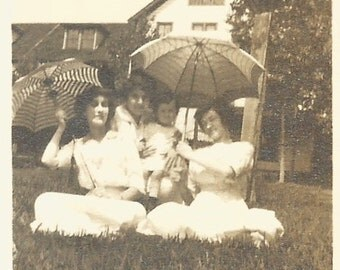 """Vintage Snapshot """"In The Shade"""" Victorian Era Women and Baby Pose With Parasols - Found Antique Photograph"""