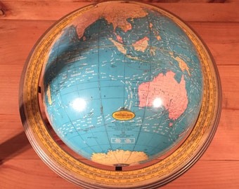 SALE ! 1930s 40s Floating Base World Globe 12 Inch Terestrial Globe George F Cram No.53 C80 Schoolhouse School Metal Base WWII Mid Century