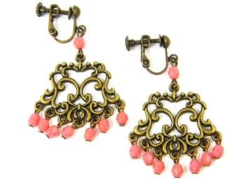Coral Clip on Earrings - Antique Brass Chandelier Screw Back Boho Earrings