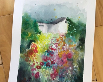 Original Watercolor Painting, Cottage, White House, Landscape, Nature, Modern Art, Ink, Minimalist, Garden Floral, Abstract Art, Bohemian
