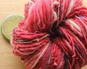 Picnic Blanket - Handspun Wool Yarn Worsted Weight Red Cream Skein