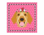 Golden Retriever Pet Portrait Art Print Illustration Wrapped Canvas 12x12x.75