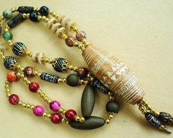 "Tribal Fancy Statement Necklace Porcelian Wood Beads Golden Beads 29"" Handmade"