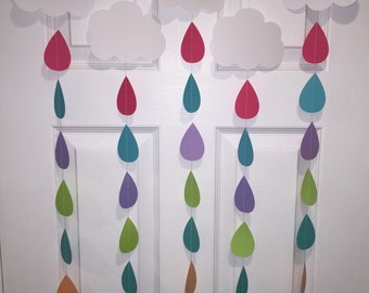 Rain Drop Garlands, Sprinkle Decorations, Paper Garland, Sprinkle Garlands, Baby Shower Garlands, Baby Girl Shower Decoration, Shower Banner