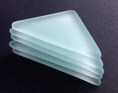 Large Thick Clear Frosted Glass Triangles