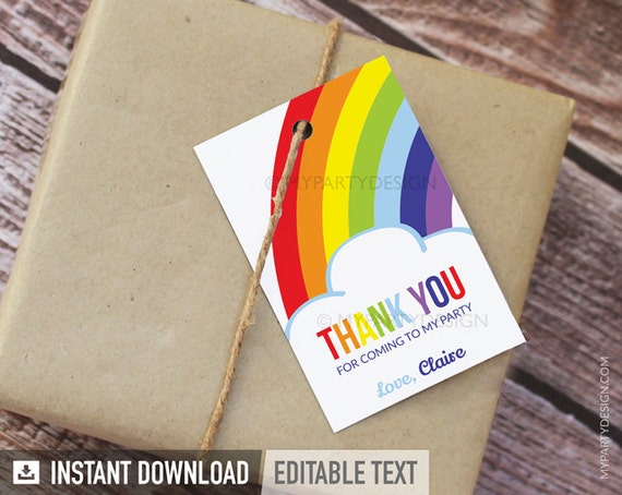 Rainbow Party - Thank you Tags - Favor Tags - INSTANT DOWNLOAD - Printable PDF with Editable Text
