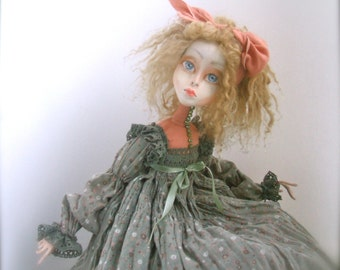 Dreamy Beatrice  Art doll OOAK   Paperclay doll   Handmade doll   Home decor  Collecting doll  OOAK art dolls
