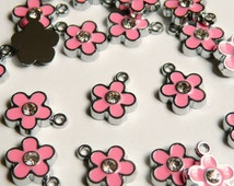 10 Cute pink enamel flower charm with rhinestone center silver finish 16x12mm ENAM-1