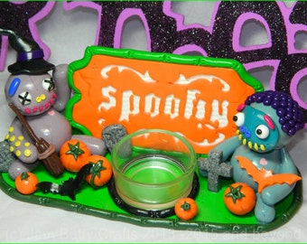 Halloween Spooky Hand Sculpted Tea Light Holder Decoration. Polymer Clay. was 38.50 now only 29.50