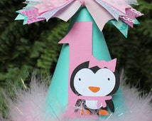 Penguin Party Hat/ Pink and Teal Party Hat/ Party Hat