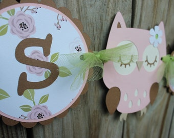 owl banner/ Pink and brown It's a Girl  owl banner/ pink and  brown owl banner
