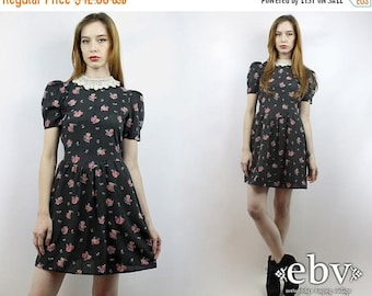 Babydoll Dress Dolly Dress Vintage 80s Black Floral Puff Sleeve Mini Dress XS Lolita Dress Black Dress Puff Sleeve Dress Black Floral Dress