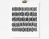 Black Graphic Art - Minimalist Abstract Artwork - Modern Crescent Moon Wall Art - Vertical Art Print - 5x7, 8x10, 11x14