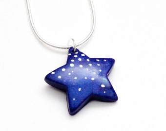 Purple Galaxy Star necklace - kawaii pendant, magical, fantasy necklace, blue pendant, space, starry night, violet, starry necklace