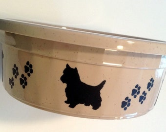 large dog bowl  - dog and paw print design