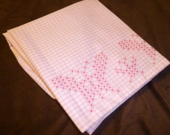 Half Apron Vintage Pink Gingham Butterfly Cross Stitch