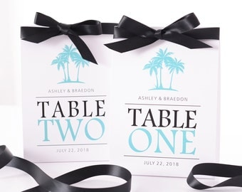 Beach Wedding Table Number Tent Cards - Palm Tree Wedding Table Markers - Beach Wedding Decor - Beach Wedding Table Tents