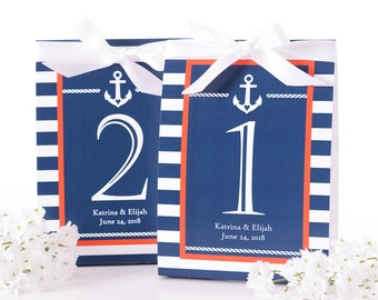 Nautical Wedding Table Number Tent Cards - Nautical Wedding Table Markers - Nautical Wedding Decor - Nautical Wedding Table Tents