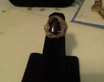 Onyx in Sterling Twist  Ring