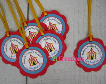 Circus Favor Tags - set of 12