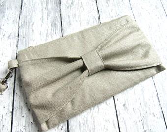 Silver bow clutch | Gray linen bow bag | Wedding clutch | Silver makeup bag | Bow zipper bag