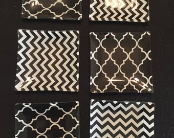 Glass Coasters - Black and White - Set of 6