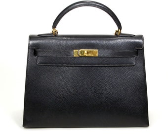 Hermes Kelly Bag, Black, 32 cm, Authentic, Designer Vintage