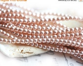 30%OFF SALE Czech pearl beads, Full Strand - Pinky Beige - faux pearls, tiny spacers, round, druk - 2mm - 150Pc - 1521