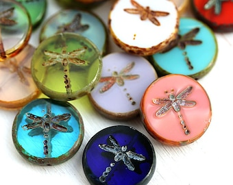 SECOND CHOICE 10pc Dragonfly beads, picasso czech glass beads, table cut, round, tablet shape - 17mm - 1221