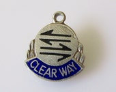 Sterling Clear Way Road Sign Enamel Charm