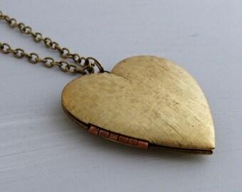 Brass Heart Locket .. large locket, heart necklace, heart locket, vintage locket, brass locket
