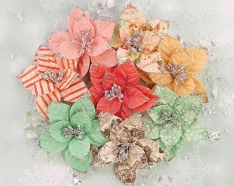 Prima Marketing Sweet Peppermint Flower Embellishement  Style Holiday Carols New Release In Stock Ready To Ship