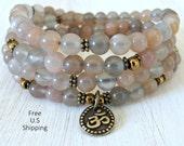 108 Silver Moonstone, 108 Mala, Prayer beads, Mala Bracelet or Necklace, Buddhist rosary, wrist mala, Moonstone bracelet, Om bracelet, ohm