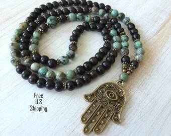 108 Protection Mala, African Turquoise, Hamsa hand,  Mala Bracelet or Necklace,  Reiki charged, Buddhist Rosary, Prayer beads, Gemstone mala