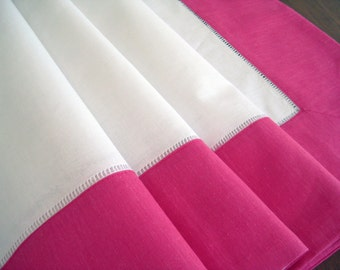 Vintage Tablecloth Crisp White, Vivid Bright Pink Trim, New Old Stock Near Mint 1980's