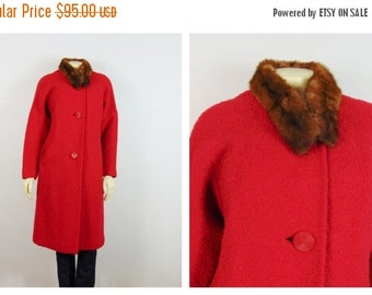 CLOTHING SALE Vintage Coat Hand Tailored Red 50s Coat Big Buttons Real Fur Collar Modern Size