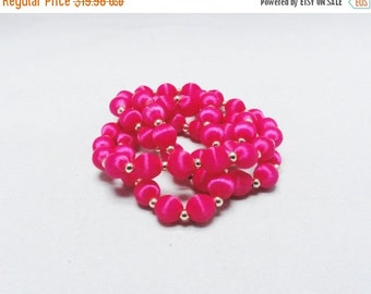 """SALE Vintage Necklace Hot Pink Fushia  and Gold Ball Necklace 30"""" Too Cute"""