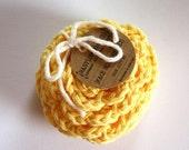 SHOP CLOSING SALE Flower Face Scrubby Set . Set of 3 . Crochet . 100 Percent Cotton . Yellow