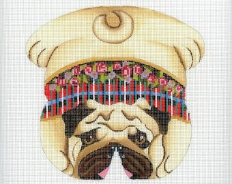 Needlepoint Handpainted Dog Canvas - Pug Beanbag
